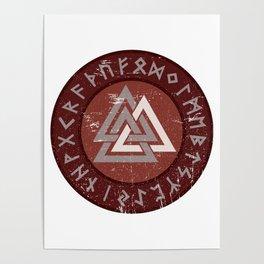 Valknut | Viking Warrior Symbol Triangle Poster
