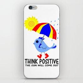 Blue Bird Think Positive Image iPhone Skin