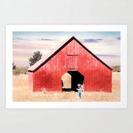 Boy and a Barn #digitalpainting Art Print