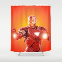 robert downey jr Shower Curtains featuring Iron Man * by Hands in the Sky