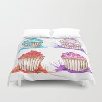 cupcakes Duvet Covers featuring Cupcakes  by Olive Coleman