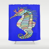 metallic Shower Curtains featuring Metallic Seahorse by J&C Creations