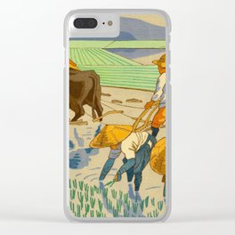 Asano Takeji Rice Transplantation Vintage Japanese Woodblock Print Asian Farmers Sedge Hat Clear iPhone Case