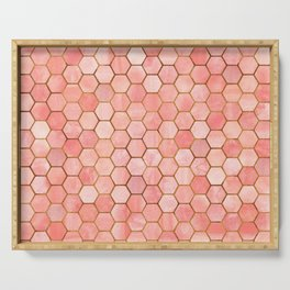 Coral and Gold Hexagonal Geometric Pattern Serving Tray