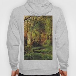 Forest Scene 1870 By Thomas Moran | Dense Woods Watercolor Reproduction Hoody