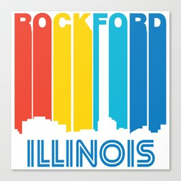 Retro 1970's Style Rockford Illinois Skyline Canvas Print