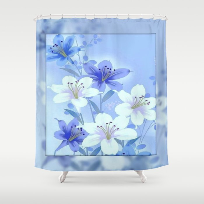 Periwinkle mirror floral shower curtain by judypalkimas for Periwinkle bathroom ideas