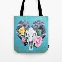 ram Tote Bags featuring Ram  by Sarah K. Fowler