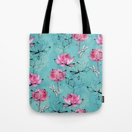 Waterlily dragonfly Tote Bag