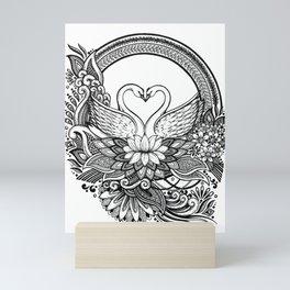Swan Love Birds Ink drawing Mini Art Print