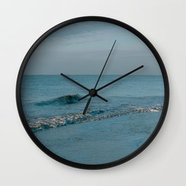 Small wave at the blue ocean || sunset at the beach || Pastel color travel photography Wall Clock