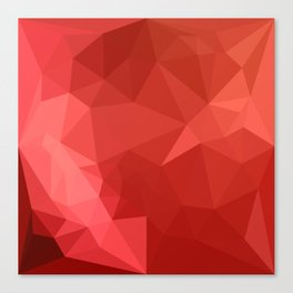 Tomato Red Abstract Low Polygon Background Canvas Print