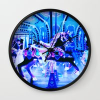 carousel Wall Clocks featuring Carousel by Whimsy Romance & Fun