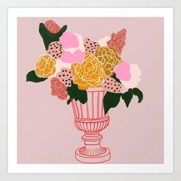 Bouquet of shapes - Floral Illustration - floral print - Flowers in urn vase Art Print