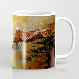 Eagle lands of the arm of the man Coffee Mug