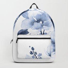 Navy Watercolor Flowers Backpack