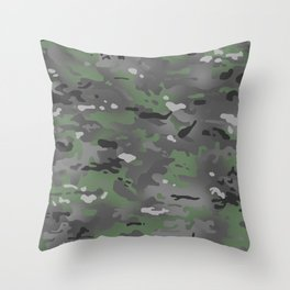 Camouflage: Arctic Green and Grey Throw Pillow