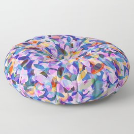 Multicolour Watercolor Spring Abstract, Ocean Blue on Orange, Lavender, Pink Oval Circle Geo Pattern Floor Pillow