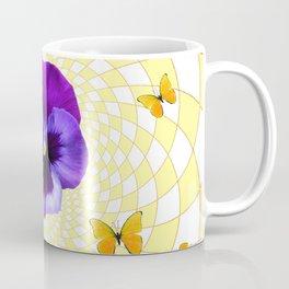 PANSY & YELLOW BUTTERFLIES  GEOMETRIC PATTERN Coffee Mug