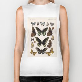 Vintage Scientific Insect Butterfly Moth Biological Hand Drawn Species Art Illustration Biker Tank
