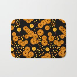 Black and orange pattern . Bath Mat