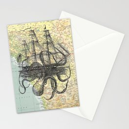 Octopus Attacks Ship on map background Stationery Cards