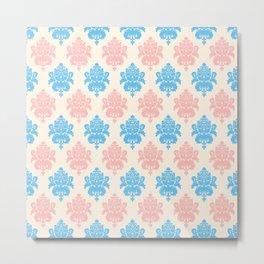 Coral blue ivory vintage chic floral damask pattern Metal Print