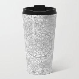 gray splash mandala swirl boho Metal Travel Mug