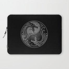 Gray and Black Yin Yang Dragons Laptop Sleeve