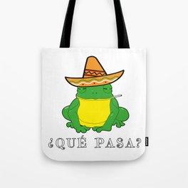 Qué Pasa? Funny Mexican Toad With Sombrero Cigarette Frogs & Amphibians Design Tote Bag