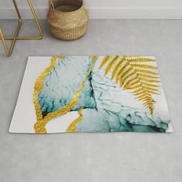 Abstract clouds. Luxurious beauty.  Art&Gold Home décor illustration hand painted Rug