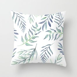 Floating Leaves Blue #society6 #buyart Throw Pillow