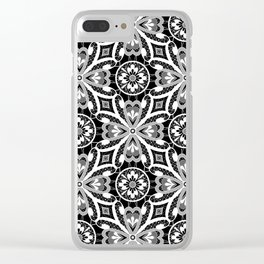 Retro . Lace black and white pattern . White lace on a black background . Clear iPhone Case