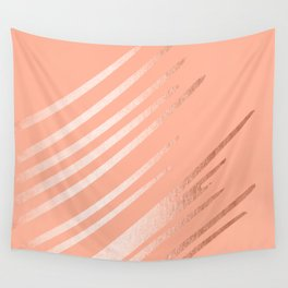Sweet Life Swipes Peach Coral Shimmer Wall Tapestry