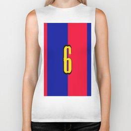 soccer team jersey number six Biker Tank