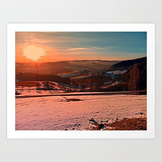 Colorful winter wonderland sundown II   landscape photography Art Print