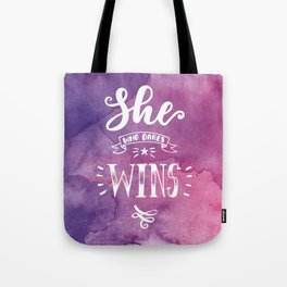 She who dares wins hand lettering quote Tote Bag