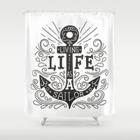 anchor Shower Curtains featuring ANCHOR by cat&wolf