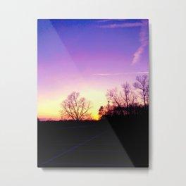School Sunset Purple & Yellow Metal Print