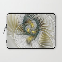 Noble And Golden, Abstract Modern Fractal Art Laptop Sleeve