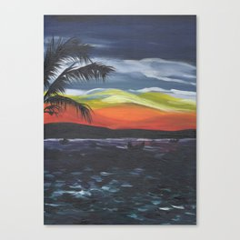 Island Life, Palm Trees, Sunsets and Fishermen Canvas Print