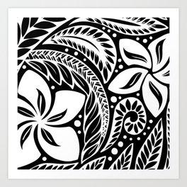 Circular Polynesian White Floral Tattoo Art Print