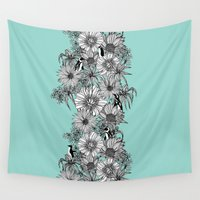 penguins Wall Tapestries featuring Penguins & Flowers by Lydia Meiying