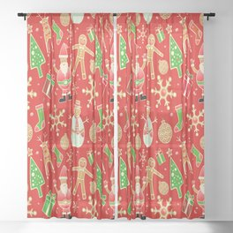 Christmas Collage Sheer Curtain