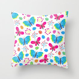 Easter Blue and Pink Butterfly Pattern Throw Pillow