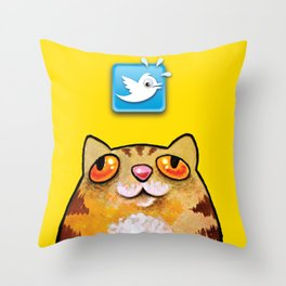 Cat love twitter bir yellow Throw Pillow