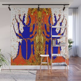Lapis Blue Beetle on Gold Wall Mural