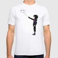 Boy with Robot SMALL Mens Fitted Tee Ash Grey