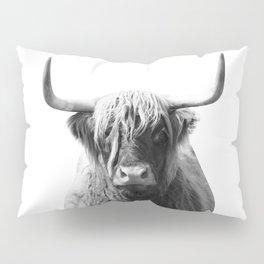 Highland cow   Black and White Photo Pillow Sham