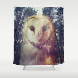 Merge owl and forest reflection Shower Curtain